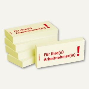 Haftnotizen bedruckt: Für Ihre(n) Arbeitnehmer(in)!