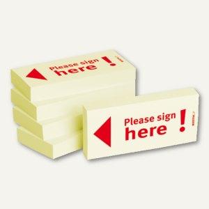 Haftnotizen bedruckt: Please sign here! / Pfeil nach links