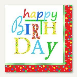 """Dekorservietten """"Happy Birthday"""", 1/4-Falz, 3-lagig, 33 x 33 cm, 200 Stück"""