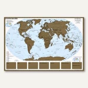 Weltkarte zum Freirubbeln, 95 x 66 cm, laminiert, beschreibbar, abwischbar