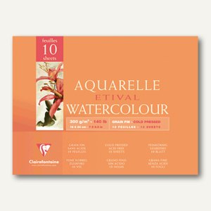 Etival Aquarellblock, 30 x 40 cm, fein, 300g/m˛, 10 Blatt, 96572C