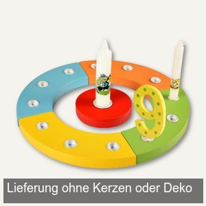 Kerzenringset, Holz, rund, Ř 25 cm, rot, grün, gelb, hellblau, orange, 66685E