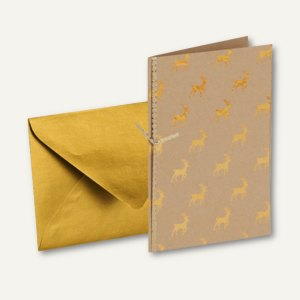GOLDEN REINDEER Doppel-Karte B6 + Umschlag DIN B6, m. Einlegeblatt, 8 Stück