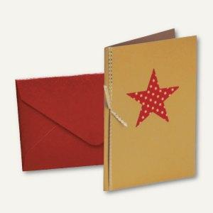 MERRY CHRISTMAS Doppel-Karte + Umschlag DIN B6, m. Einlegeblatt, Stern, 6 St.