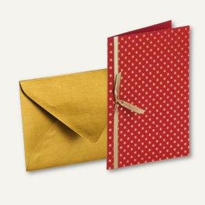 MERRY CHRISTMAS Doppel-Karte + Umschlag DIN B6, m. Einlegeblatt, Sterne, 6 St.