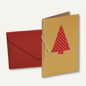 MERRY CHRISTMAS Doppel-Karte + Umschlag DIN B6, m. Einlegeblatt, Baum, 6 St.