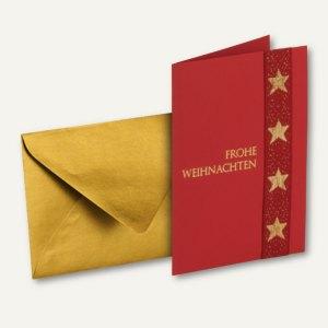 MERRY CHRISTMAS Doppel-Karte + Umschlag DIN B6, m. Einlegeblatt, xmas, 6 St.
