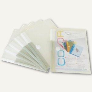 Dokumententaschen DIN A4 quer, Klettverschluss, transparent, 5 St