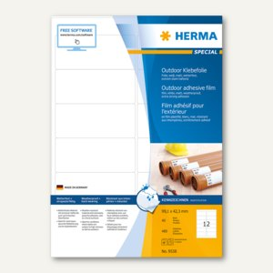 Herma Outdoor Klebefolie, wetterfest, 99.1 x 42.3 mm, matt weiß, 480 Stück, 9538