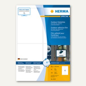 Herma Outdoor Klebefolie, wetterfest, 99.1 x 139 mm, matt weiß, 160 Stück, 9539