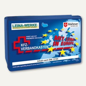 Leina-Werke KFZ-Verbandskasten EURO, Inhalt DIN 13164, blau, REF 10102