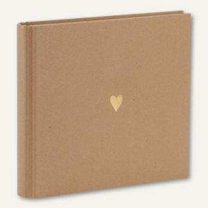 Gästebuch / Fotoalbum HERZ, 230 x 220 mm, 60 Seiten, kraft, 2er Pack