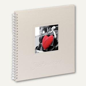 """Hochzeits-Spiralalbum """"Just married"""", 310 x 320 mm, 40 Seiten, Stoff, weiß"""