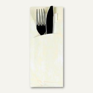Bestecktaschen, 20 x 8.5 cm, inkl. Serviette, Papier, creme, 520 Stück, 85206