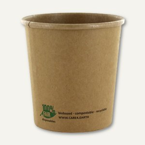 "Suppenbecher ""pure"" - ""100% Fair"", 470 ml, Ř 9.8 x 10 cm, Pappe, braun, 500 St."