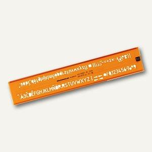 Rumold Schriftschablone, Schrift H=2,5mm, ISO 3098/1, orange-transparent, 89025