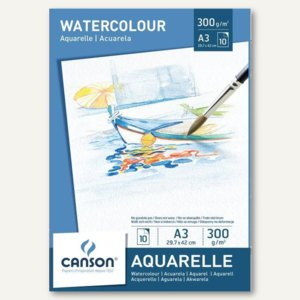 Canson Aquarellpapier-Block, DIN A3, 300 g/qm, weiß, 10 Blatt, C200005790