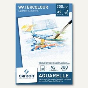 Canson Aquarellpapier-Block, DIN A4, 300 g/qm, weiß, 10 Blatt, C200005789