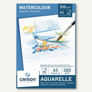 Canson Aquarellpapier-Block, DIN A5, 300 g/qm, weiß, 10 Blatt, C200005788