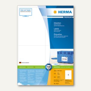 """Etiketten """"Premium"""", DIN A4, 105 x 148 mm, wei"""