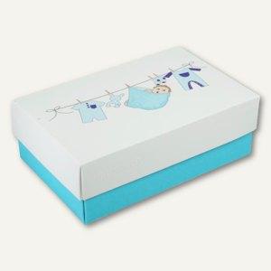 Geschenkbox BABY BOY XL, Karton, 34 x 22 x 11.5 cm, 350 g/m˛, blau, 12er-Pack