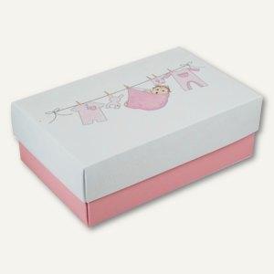 Geschenkbox BABY GIRL XL, Karton, 34 x 22 x 11.5 cm, 350 g/m˛, rosa, 12er-Pack
