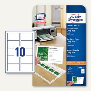 Visitenkarten SUPERIOR, 85 x 54 mm, 200g/m˛, matt, alle Drucker, 100 Karten