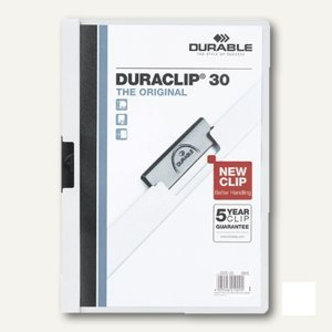 Klemm-Mappe DURACLIP, DIN A4, bis 30 Blatt, wei
