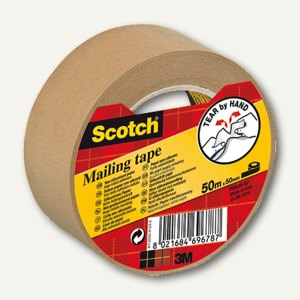 Scotch Packband Papier, 50 mm x 50 m, braun, P5050