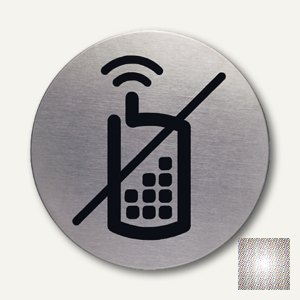 Edelstahl-Piktogramm Handy verboten