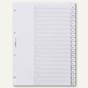 Kunststoff-Register DIN A4, A-Z, Schilder bedruckbar, 20-tlg., transparent
