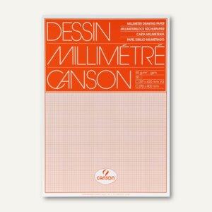 Canson Millimeterpapier-Block, DIN A3, 90g/m˛, weiß/orange, 50 Blatt, 200067503