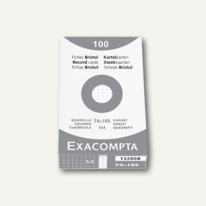 Exacompta Karteikarten DIN A7, kariert, weiß, 100 Stück, 13200B