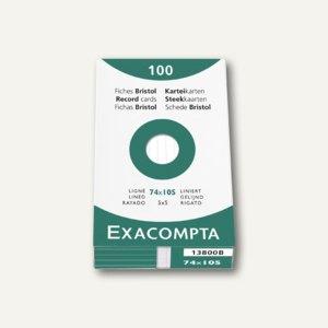 Exacompta Karteikarten DIN A7, liniert, weiß, 100 Stück, 13800B