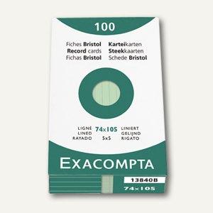 Exacompta Karteikarten DIN A7, liniert, grün, 100 Stück, 13840B