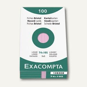 Exacompta Karteikarten DIN A7, liniert, rosa, 100 Stück, 13830B