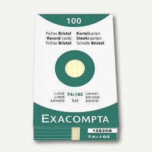 Exacompta Karteikarten DIN A7, liniert, gelb, 100 Stück, 13820B