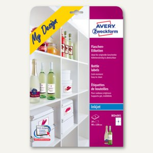 Avery Zweckform Inkjet-Flaschenetiketten, 90 x 120 mm, 20 Etiketten, MD4001