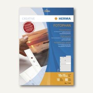 Herma Fotophan-Sichthüllen, 10 x 15 cm, hoch, weiß, 10 Hüllen, 7585
