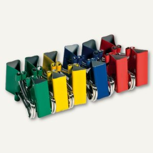 Foldback-Klammern, B 32 mm, vernickelt, farbig sortiert, 12er Pack